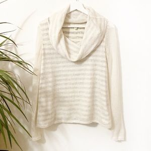 Moth Sheer Lined Cowl Neck striped Sweater